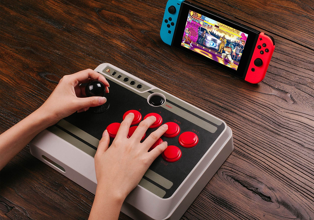 An N30  arcade stick being used to play Street Fighter 2 on the Nintendo Switch