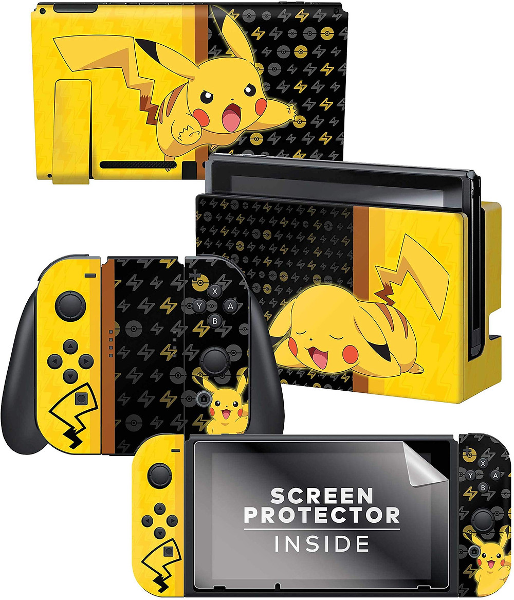 A series of skins and decals that adorns the Nintendo Switch, Joy-Con and dock with a sleeping Pikachu