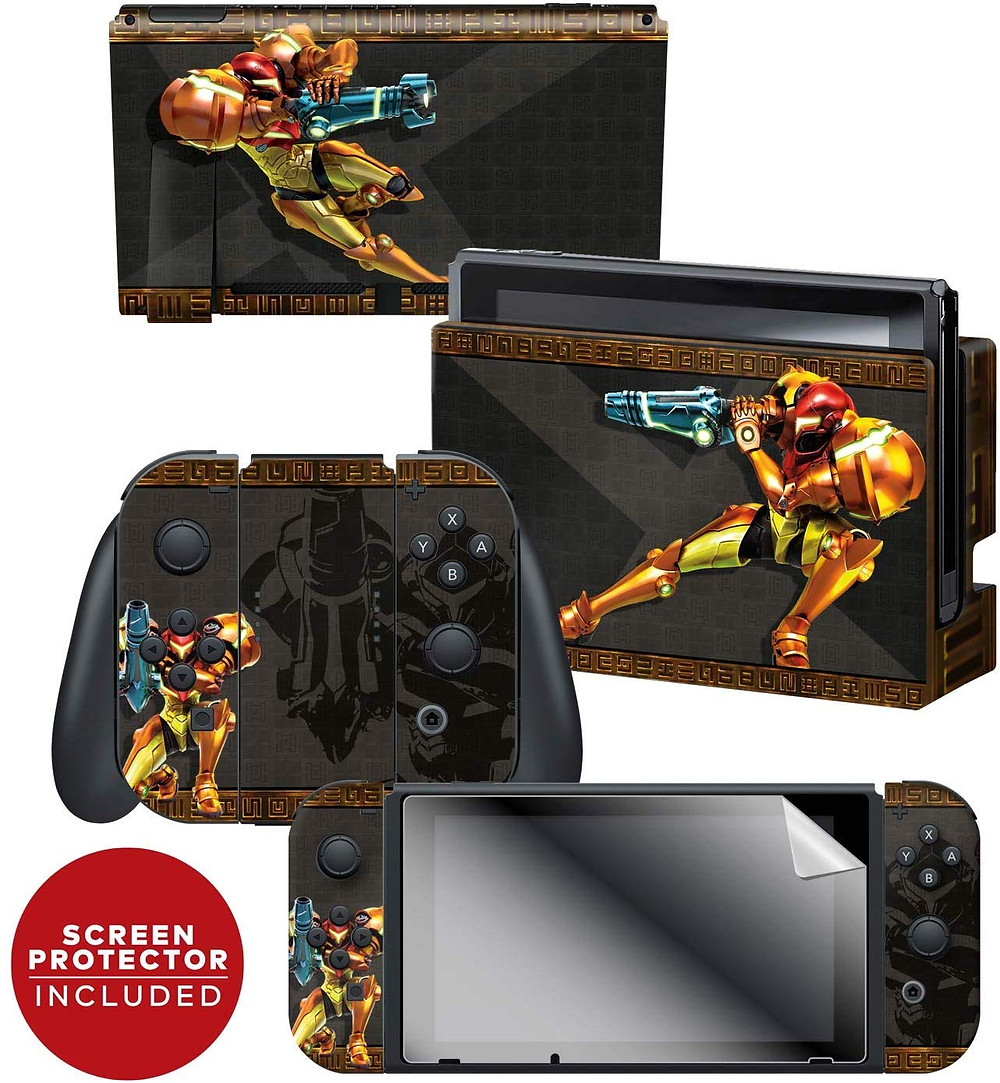 A series of skins and decals that adorns the Nintendo Switch, Joy-Con and dock themed around Samus on her varia suit from Metroid