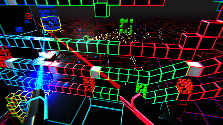 A screenshot of the Gridwall VR game for the Switch