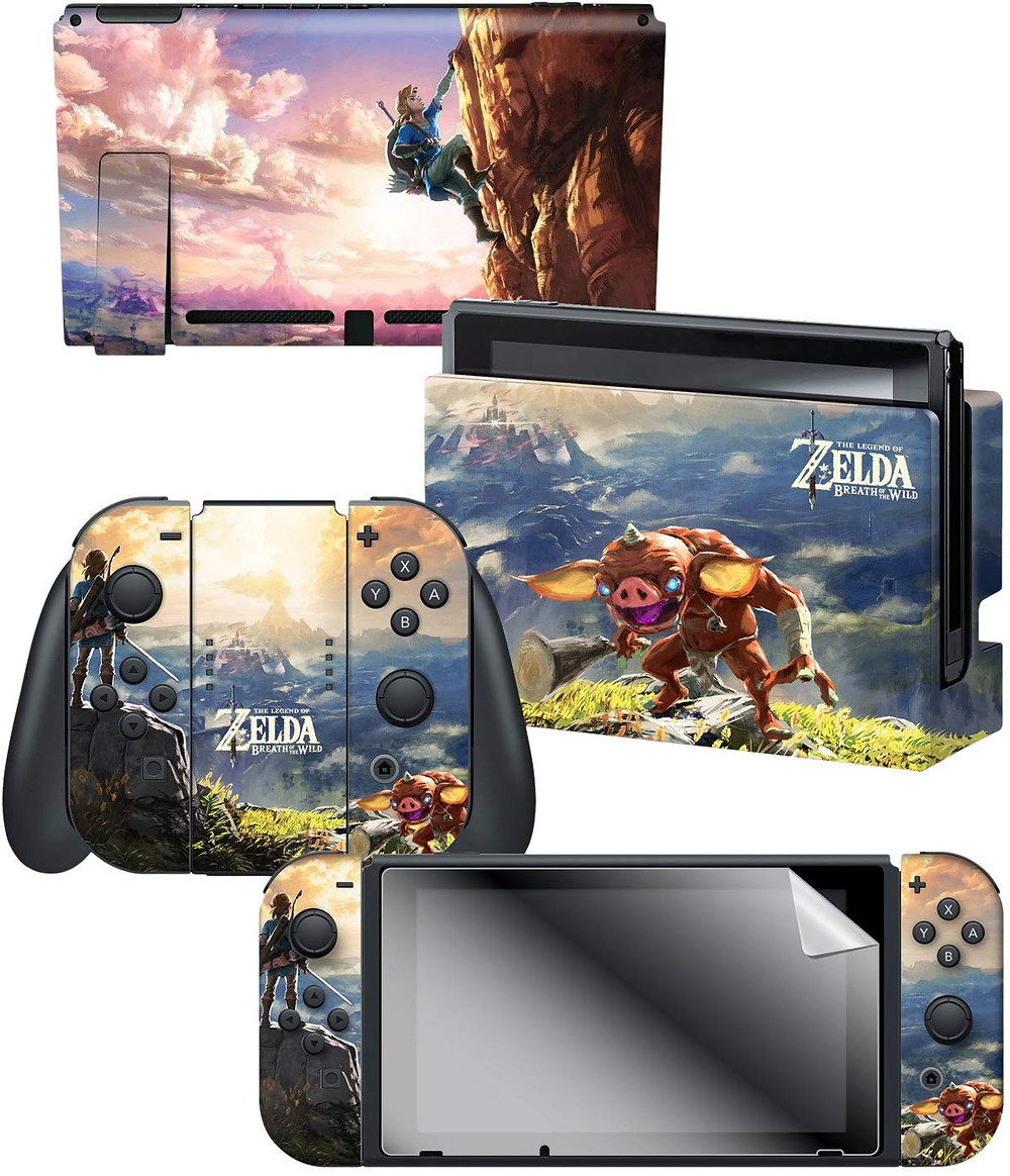 A series of skins and decals that adorns the Nintendo Switch, Joy-Con and dock themed around Zelda Breath of The Wild, with pictures of Link, Hyrule castle and a cliff