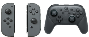 The Joy-Con and Pro Controller.