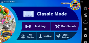 A screenshot of Smash Ultimate main menu with the Labo VR option turned on