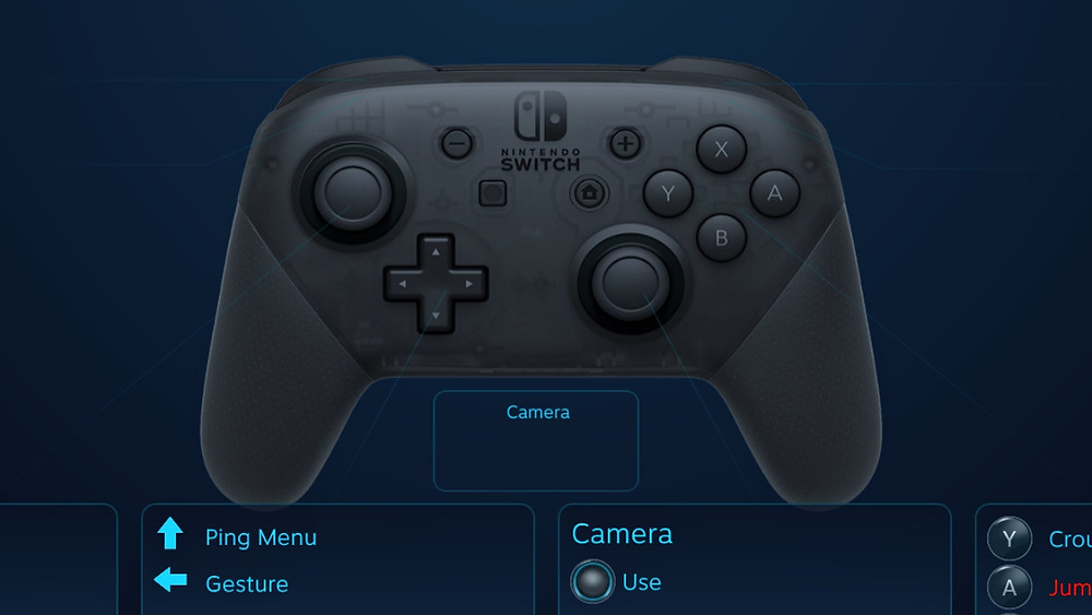 A Pro Contrlller keybinding menu from the Steam store.