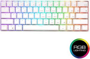 A mechanical keyboard with RGB lights.