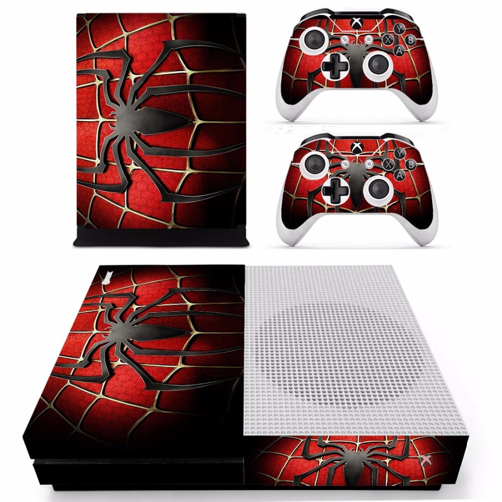 An Xbox One Skin for the console and controllers with the Spider man logo