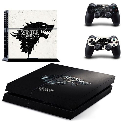 A Game of Thrones play station skin showing the emblem of House Stark