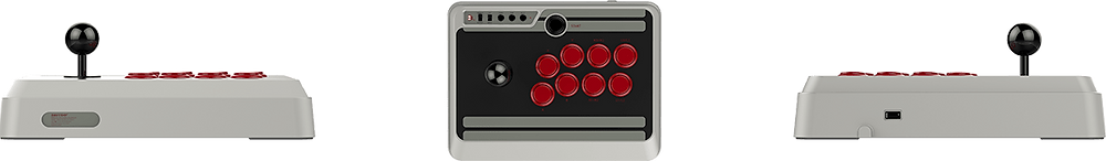 Two profile pictures of the N30 and a top down image wher you can see it´s eight buttons and joystick