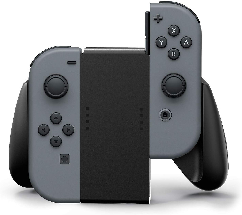 A picture of PowerA comfort Grip being used with two black Joy-Con.