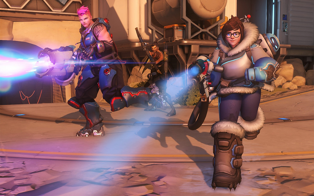 A screenshot of Mei,Zarla and Hanzo charging foward on Overwatch