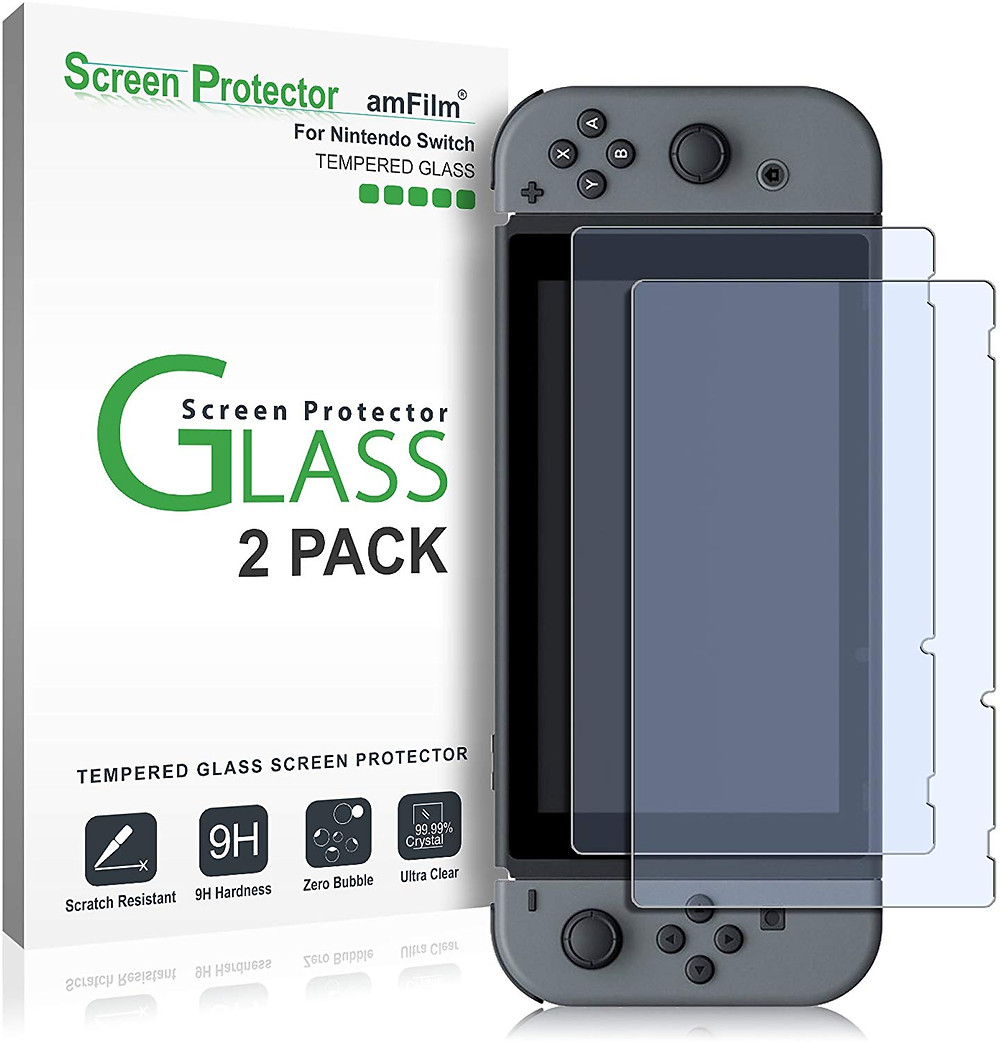 A picture of tempered glass screen protectors for the Switch