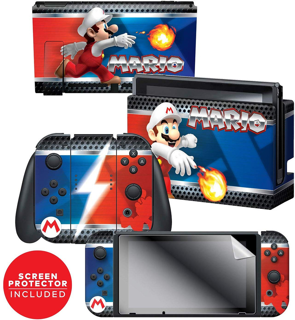 A series of skins and decals that adorns the Nintendo Switch, Joy-Con and dock themed around Mario with his fireflower