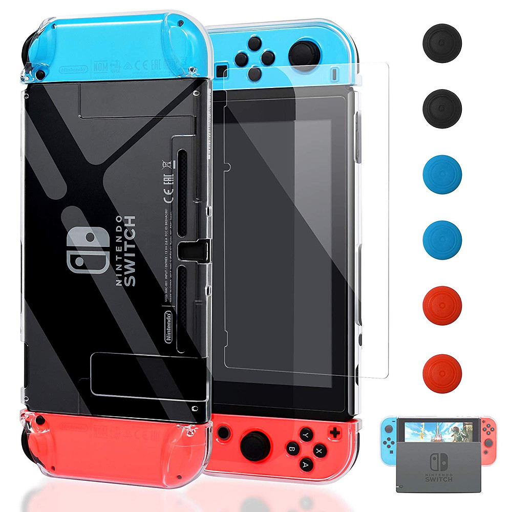 A picture showing a clear protective case for the Nintendo Swtich and the Joy-Con with a demostration of how it fits into the dock