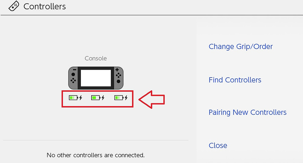 Nintendo Switch controller menu with the Joy-Con batteries higlighted