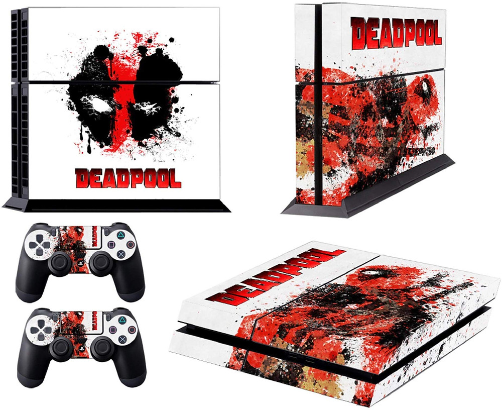 A dead pool skin for the Playstation 4 showing his mask and silhouette