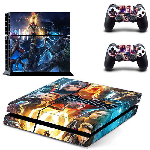 A PlayStation 4 skin showing the main cast of the Avengers posing dramatically