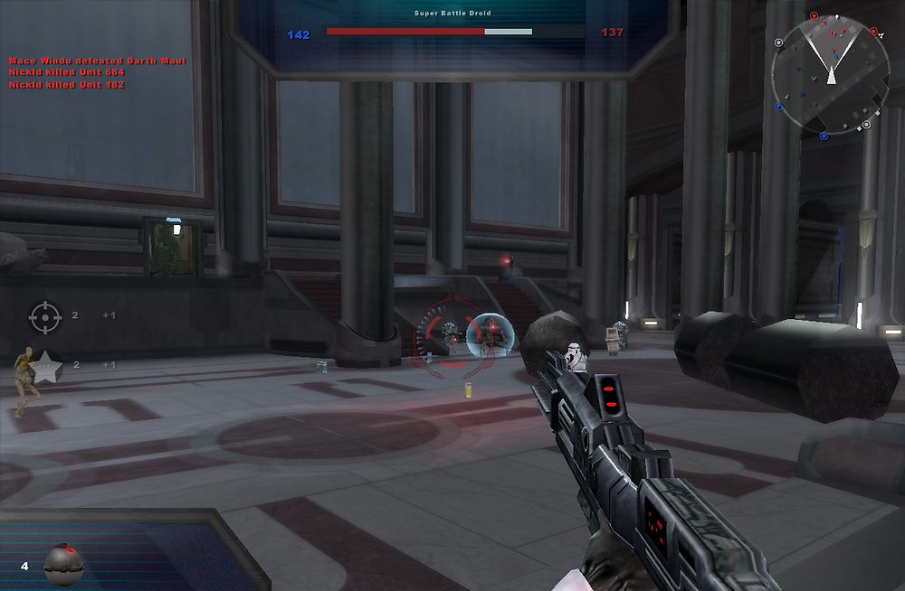 A screenshot of Battlefront 2 to show that the advantages of the mouse over the gamepad.