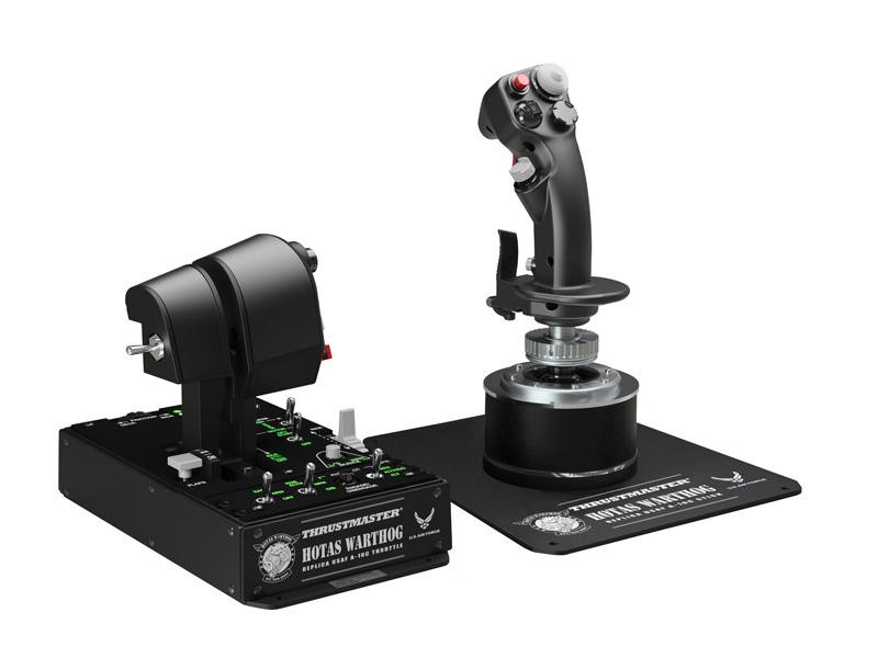 Thrustmaster´s Warthog HOTAS. A replica of the joystick and throttle of the A-10 attack aircraft.