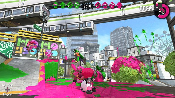 A screenshot of Splatoon 2, depicting the use of gyro aiming on the Nintendo Switch