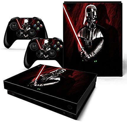 An Xbox One X Skin for the console and controllers showing Darth Vader with his red lightsaber out