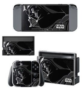 A series of skins and decals that adorns the Nintendo Switch, Joy-Con and dock showing Darth Vader from Star Wars