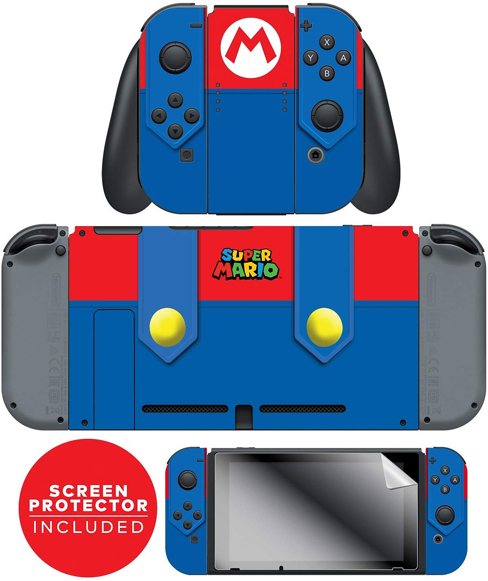 A Nintendo Switch adorned with a skin that makes it look like Mario´s overalls