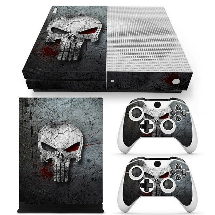 An Xbox One S Skin for the console and controllers with the Punisher Skull logo
