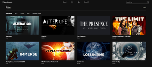 A screenshot of the Oculus Store, showing the films available for the Oculus Go.