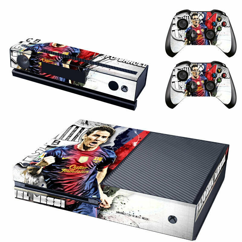 An Xbox One Skin for the console and controllers with the face of Messi
