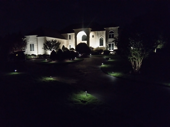 LED landscape lighting lighting whole home and garden at night
