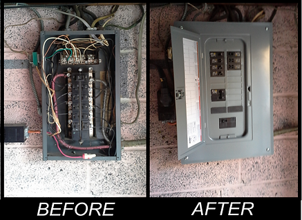 Before and after pic of old and new 100 amp breaker panel