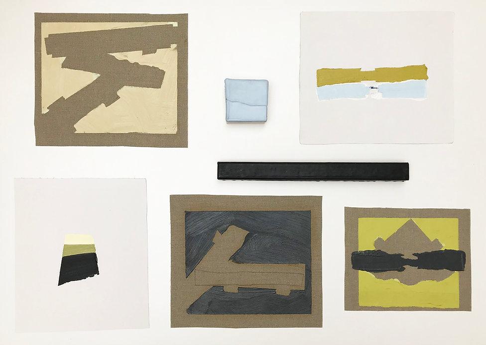 Sem título. Políptico. 2019. Encáustica, óleo e linho. 70 x 130 x 3 cm aprox.