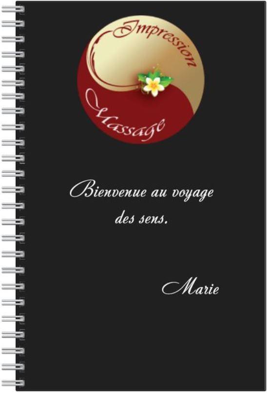 carnet noir avec agenda à l'intérieur Impression massage 95, massage val d'oise