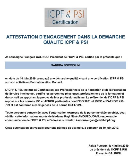 Attestation d'engagement dans la démarche qualité ICPD & PSI