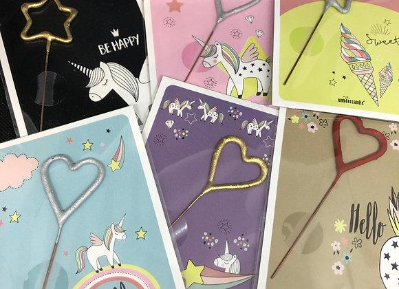 Carte licorne et bougie magique
