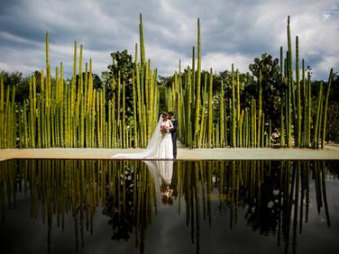 Fotografía de boda en Jardin Etnobotanico en Oaxaca
