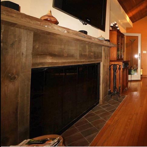Reclaimed wood Custom fireplace surround