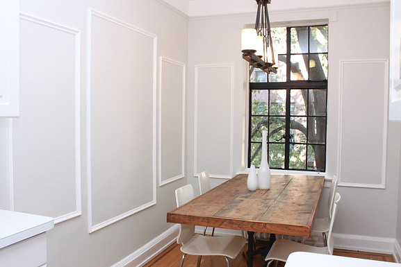 Apt living: Dining wall trim and farmhouse table