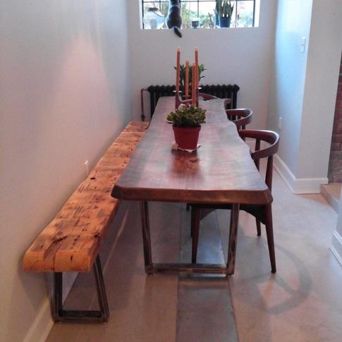 Custom live-edge walnut tabletop and vintage beam bench
