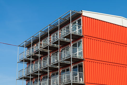 Pile of container homes for students in