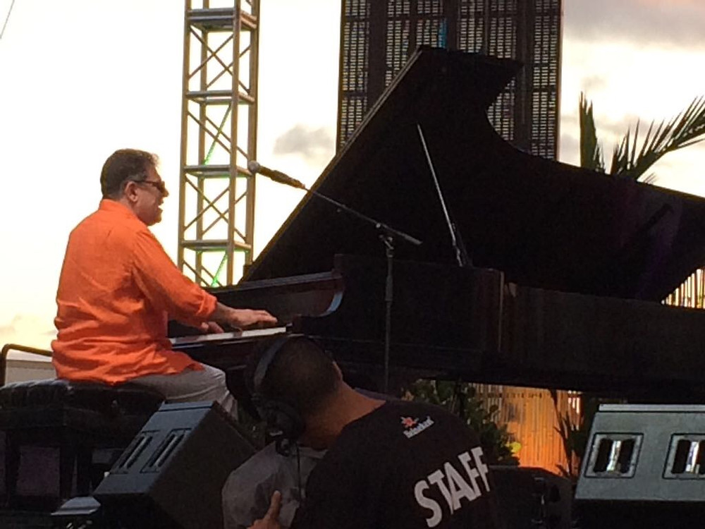 Lannie Battistini performing on stage.
