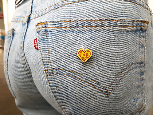 "MeatSweatz - ""Love Crust"" pin"