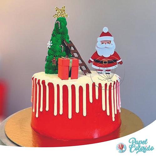 Topo de Bolo Natal Papai Noel com Escada