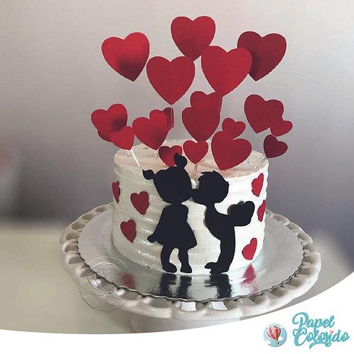 Topo de bolo Dia dos Namorados casal