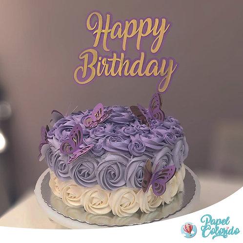 Topo de Bolo Feliz Aniversário Borboletas