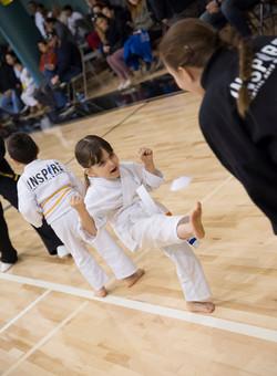 Little girl doing martial arts