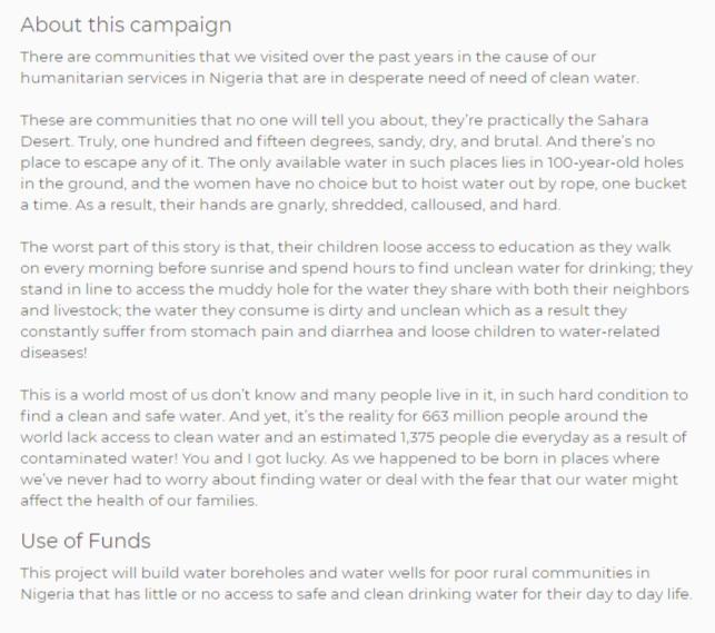good example of fundraising campaign description