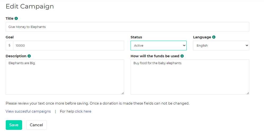 example of how to change the status of a GivingWay campaign