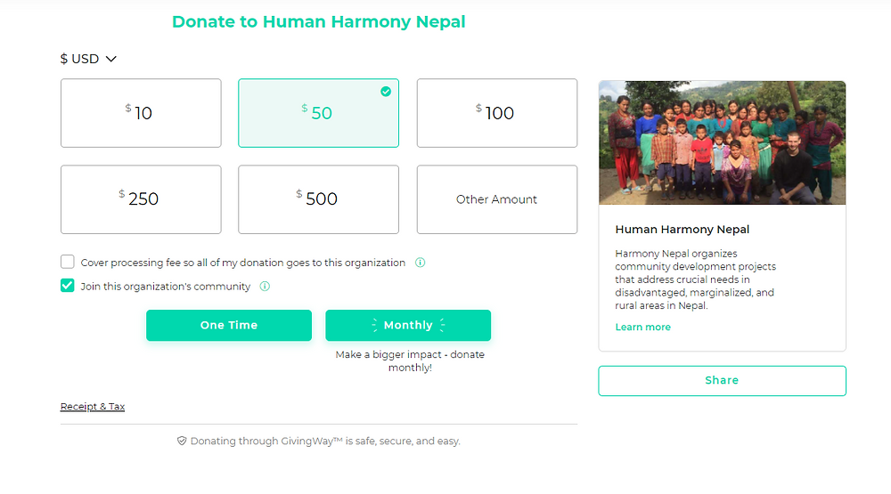 GivingWay donation page example