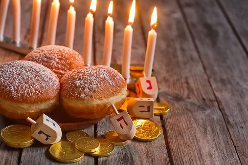 Jewish holiday hannukah symbols - menora